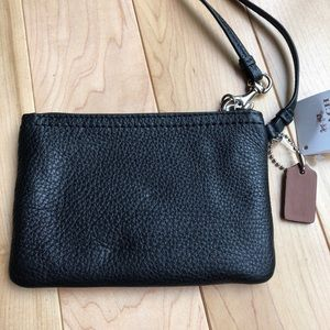 Coach Bags - COACH -black leather wristlet